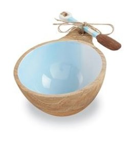 Blue Beach Wood Dip Bowl