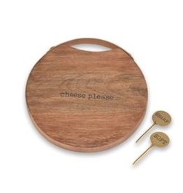Round Wood Cheese Board Set
