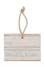 BEACH TIME CARVED WOOD TAG