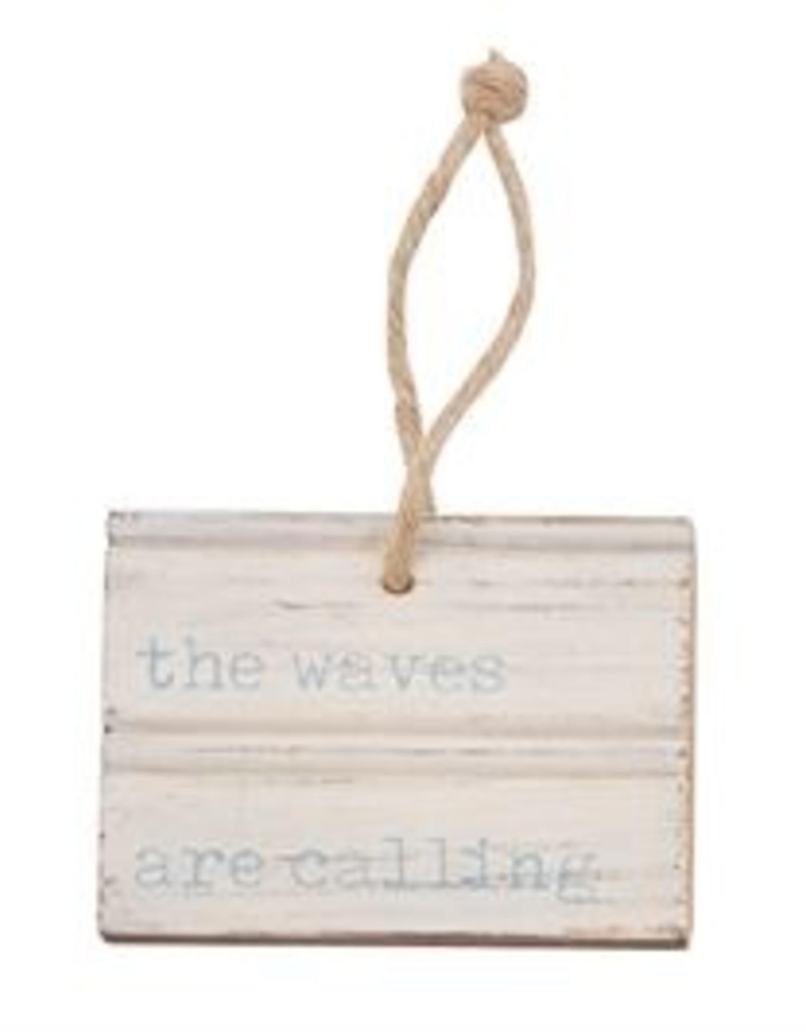 WAVES BEACH CARVED WOOD TAG
