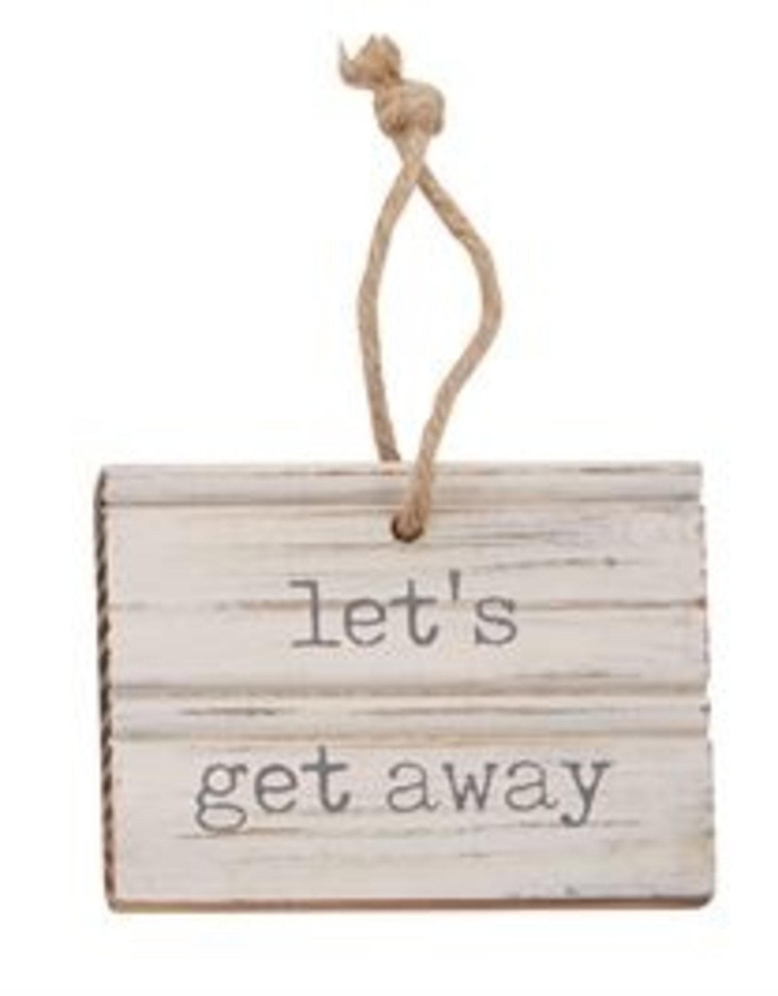 LETS GET BEACH CARVED WOOD TAG