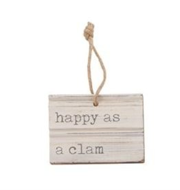 HAPPY BEACH CARVED WOOD TAG