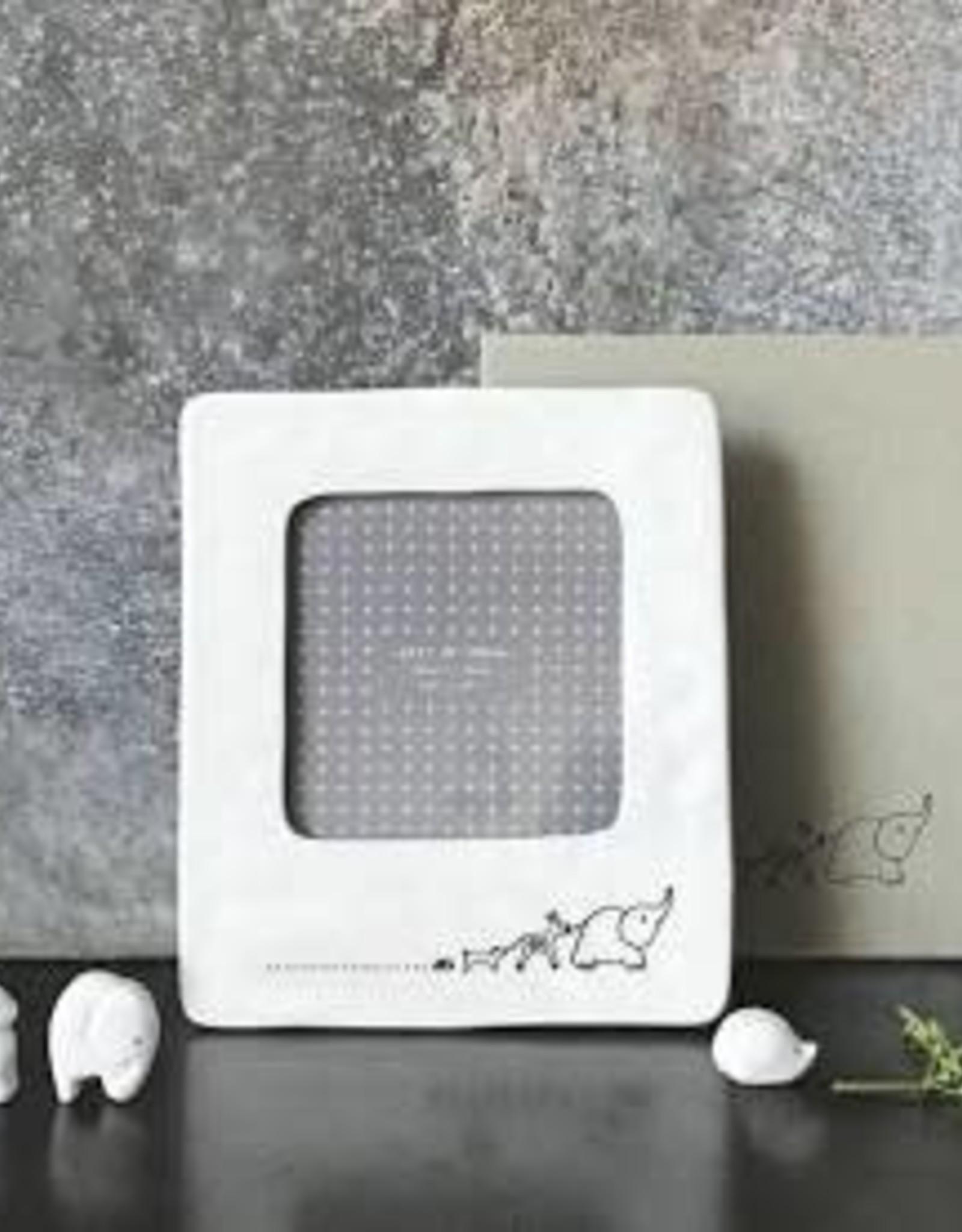 "White Ceramic Frame, 4x4"", Animals"