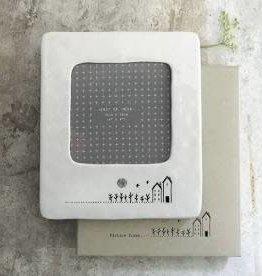 """White Ceramic Frame, 4x4"""", House"""