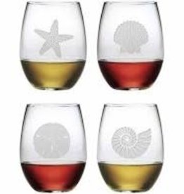 Susquehanna Glass Sea Shore Stemless Glasses, Set of 4