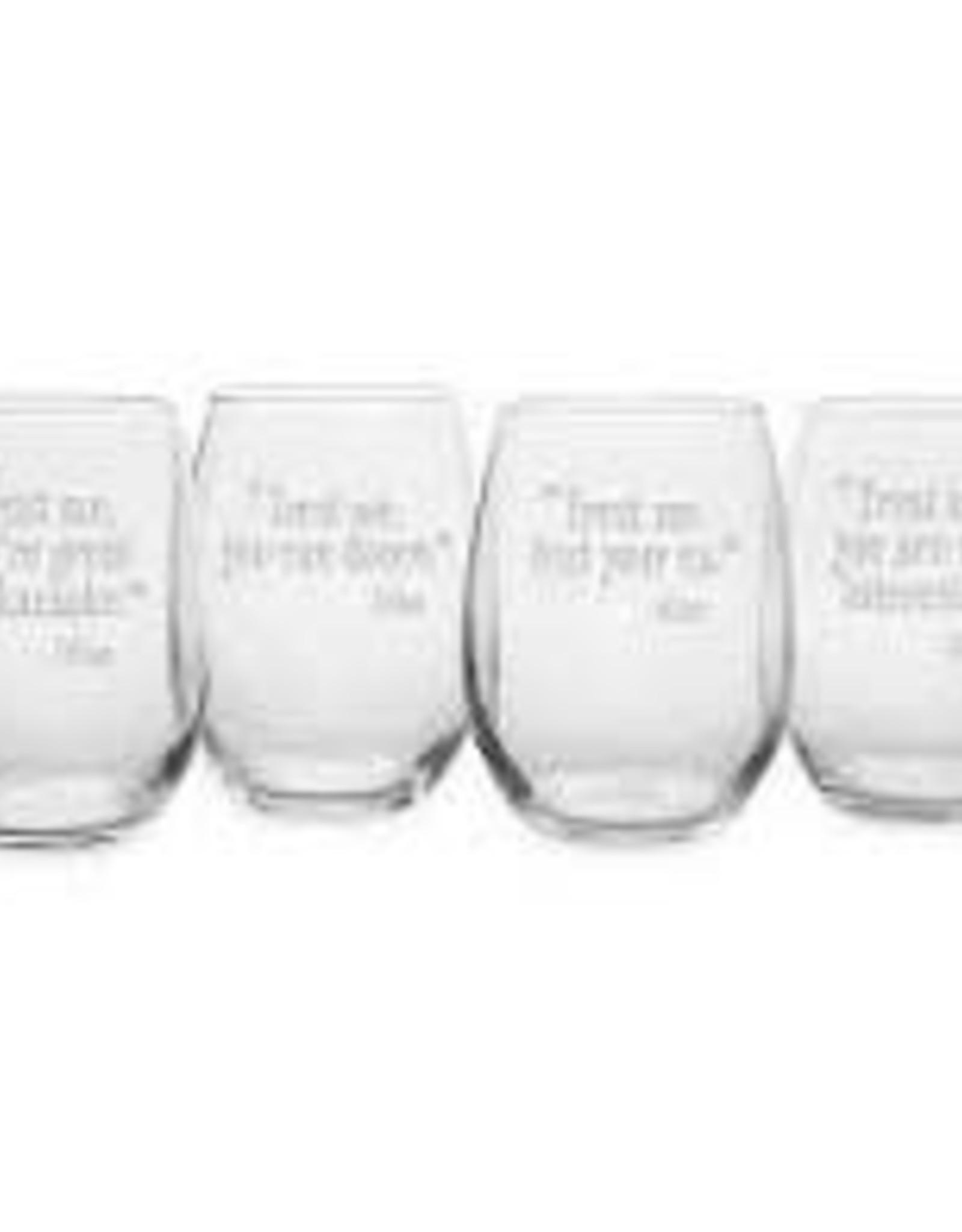 Susquehanna Glass Trust Me Wine Stemless Glasses, Set of 4