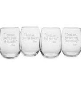 Susquehanna Glass Trust Me Wine Stemless Glasses, Set of 4