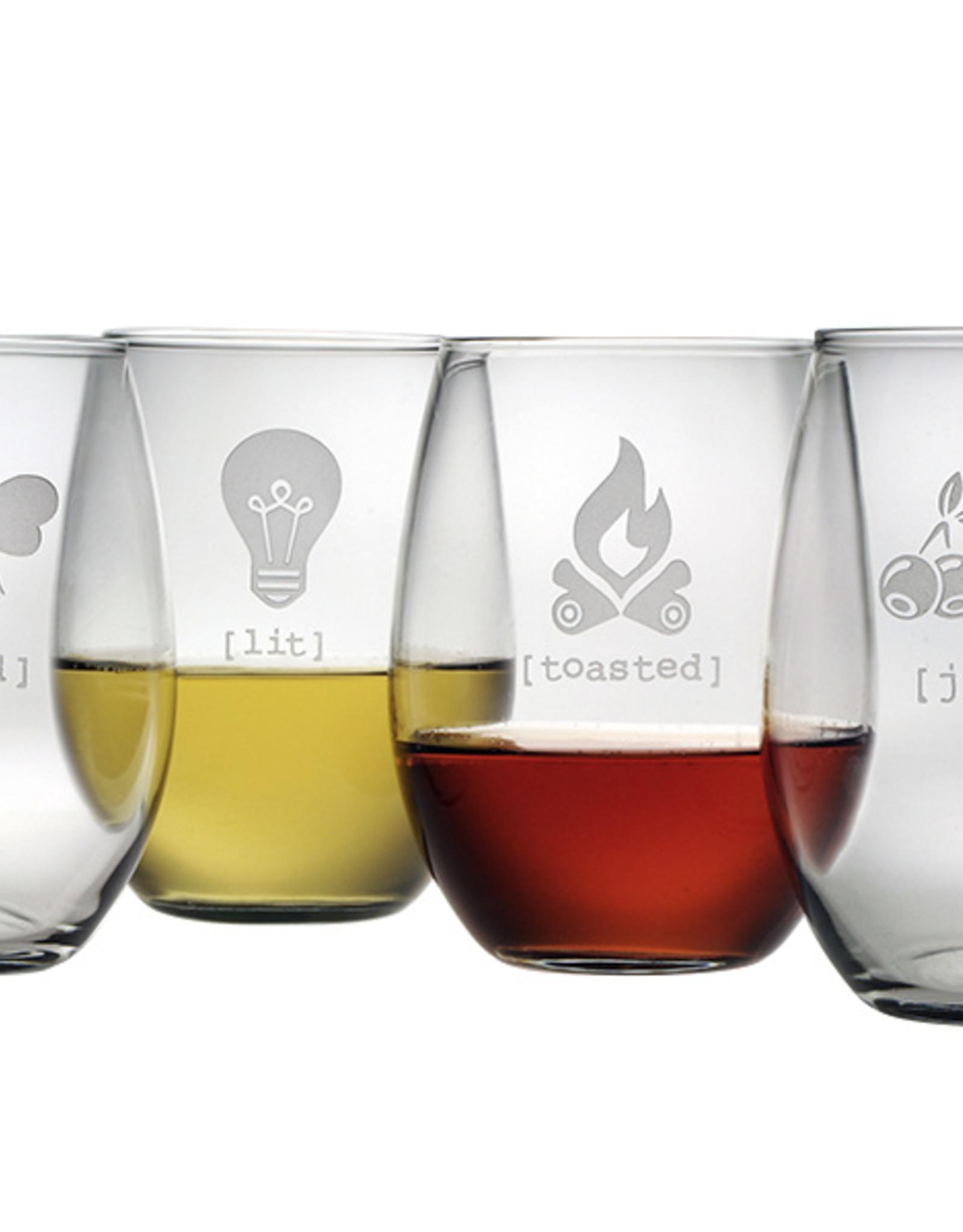 Susquehanna Glass Buzzed Stemless Glasses, Set of 4