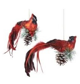 GiftCraft Cardinal w Greenery Pinecone Ornament