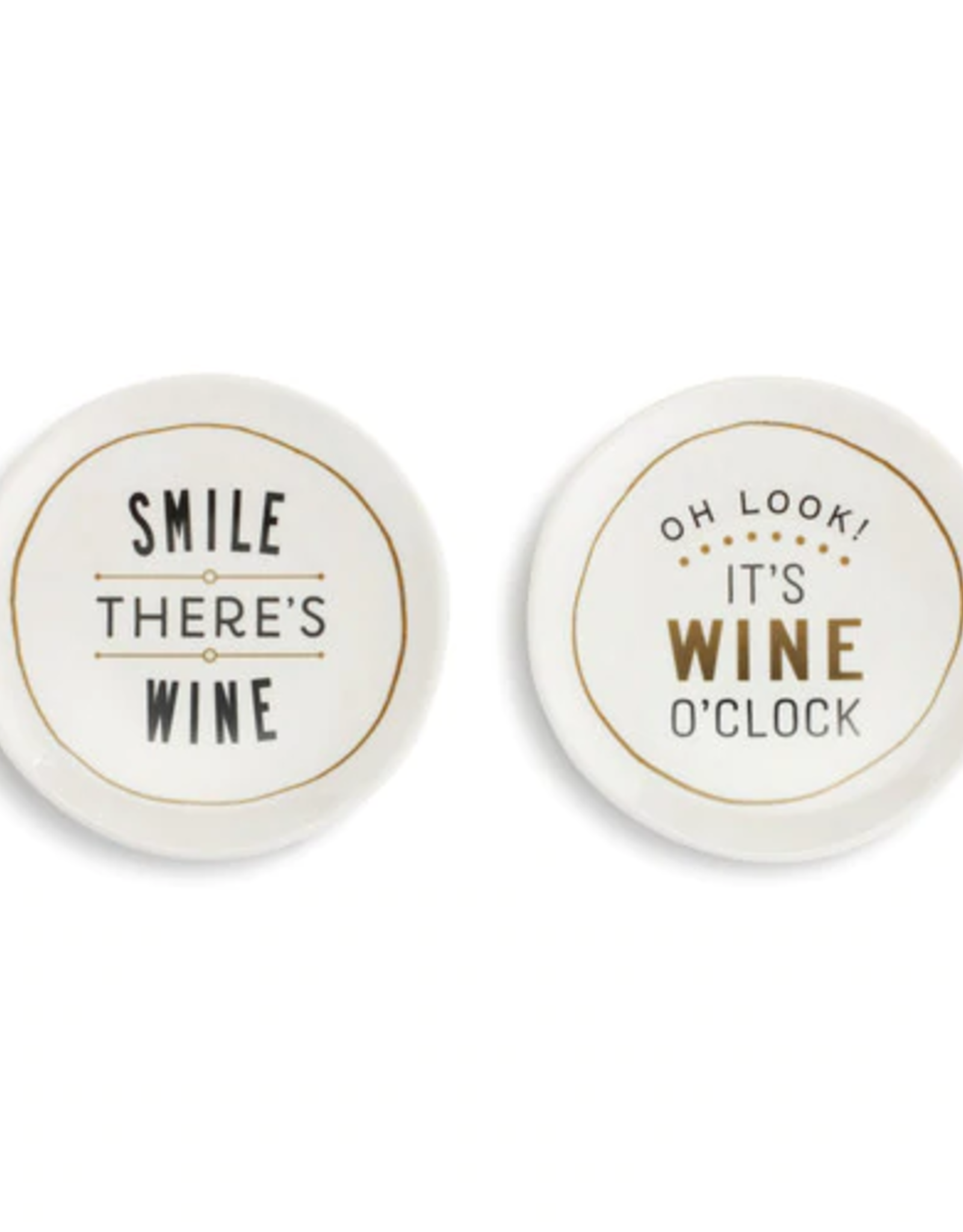 Appetizer Plates, Set of 2, Smile There's Wine