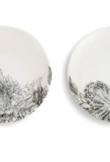 Appetizer Plates, Set of 2, Black/Cream Floral