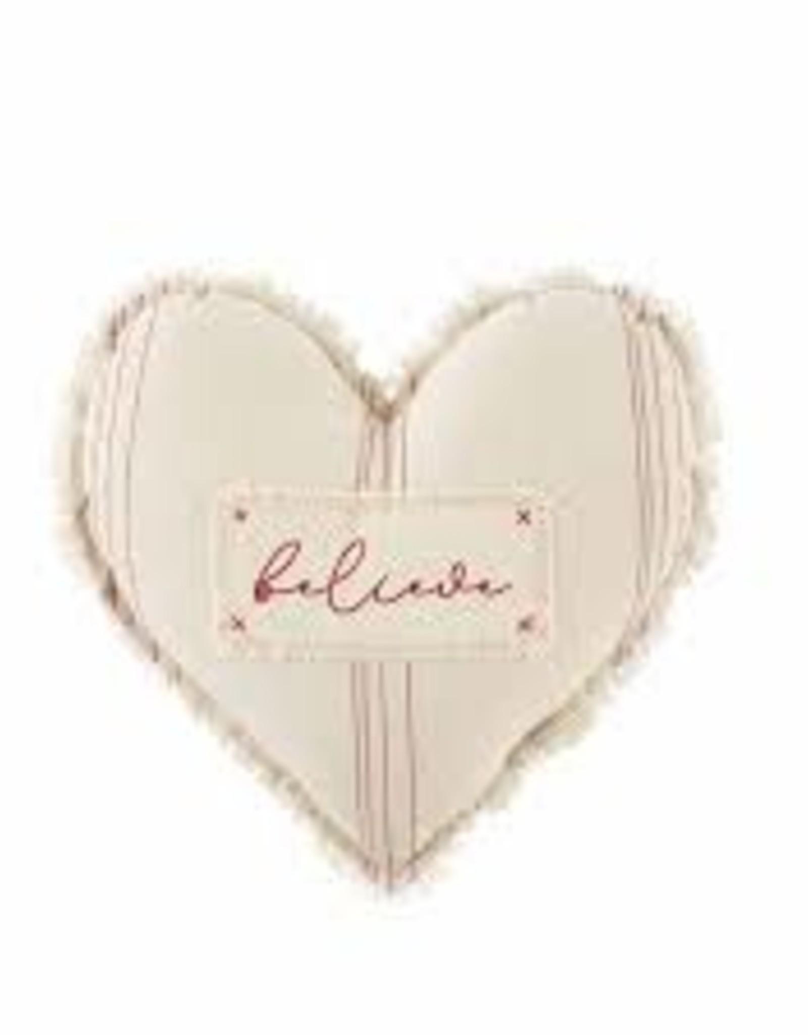 Believe Heart Shaped Pillow