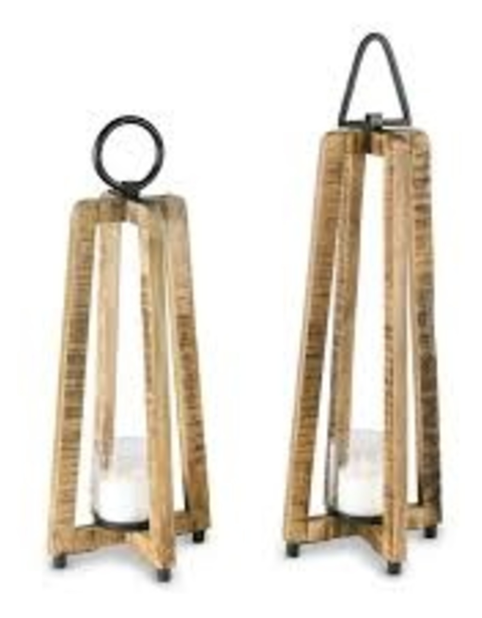 Short Wood Open Lantern w/ Metal Handle