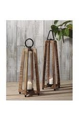 Tall Wood Open Lantern w/ Metal Handle