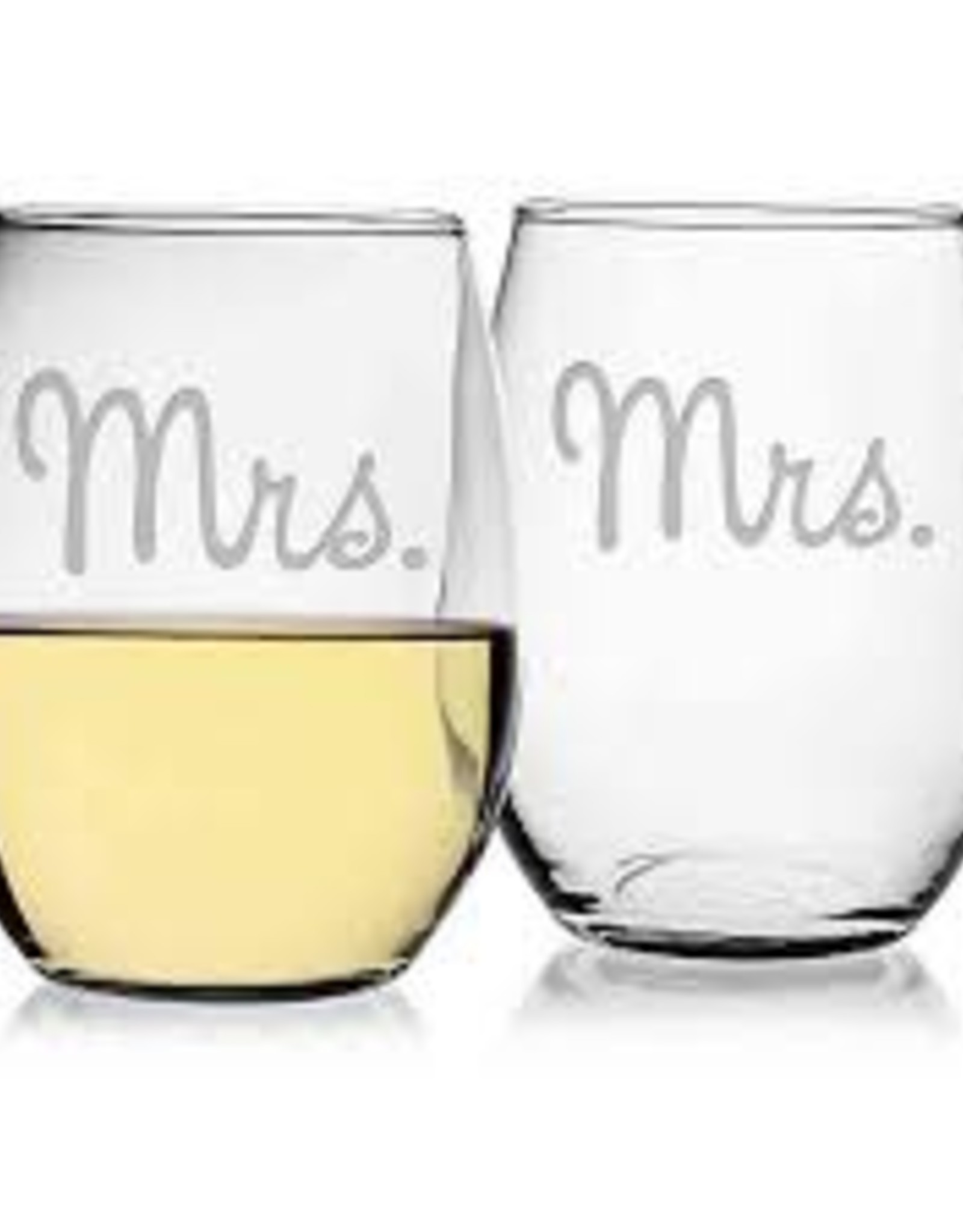 Susquehanna Glass Mr. Mrs. Stemless Glasses, Set of 2