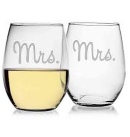 Susquehanna Glass Mr. Mrs. Stemless Glasses, Set of 2