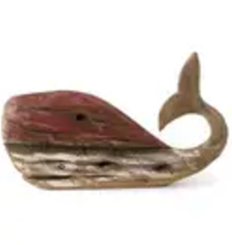 Uniquely Coastal Red Driftwood Whale Decor