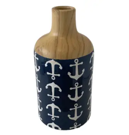 """Uniquely Coastal Ceramic Vase, 10"""" Anchor"""