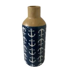 """Uniquely Coastal Ceramic Vase, 12"""" Anchors"""