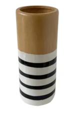 """Uniquely Coastal Ceramic Vase, 10"""" Stripe"""