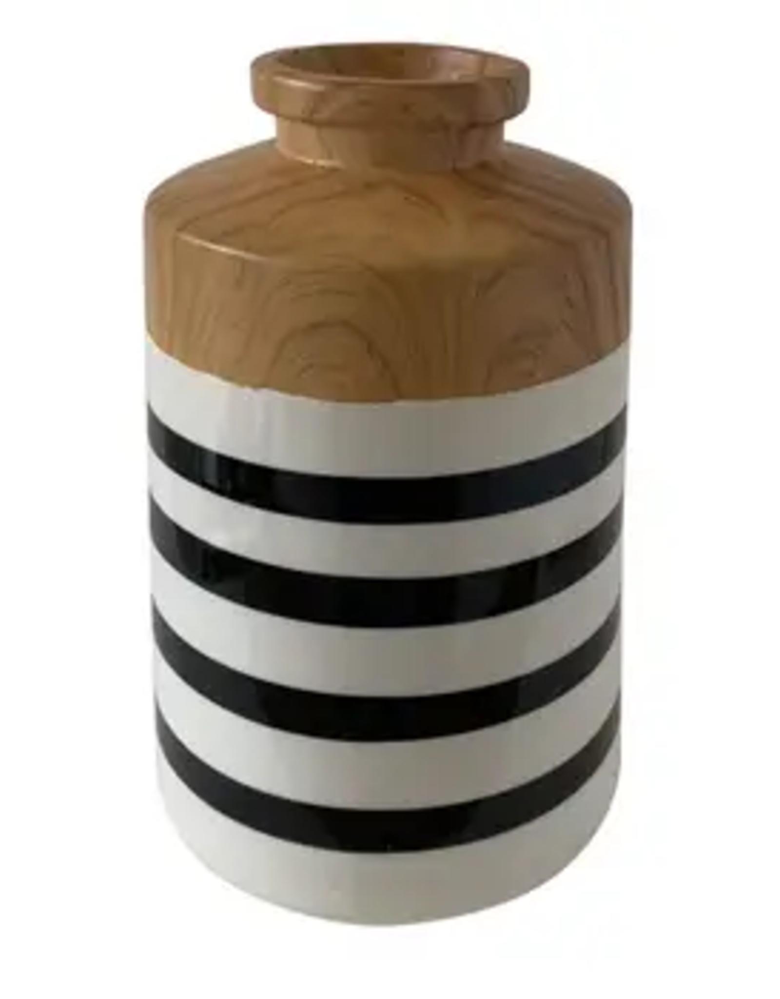 """Uniquely Coastal Ceramic Vase, 9"""" Stripe"""