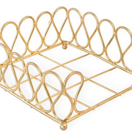 Boston International Cocktail Napkin Holder, Gold Ribbon