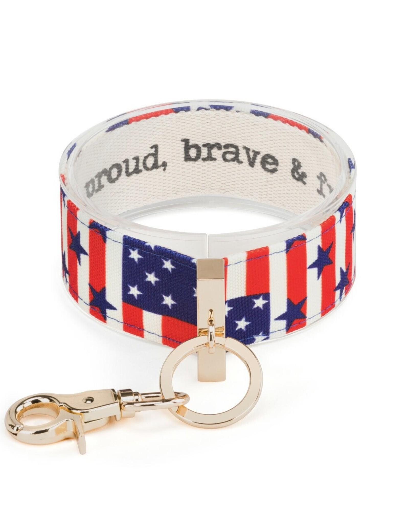 Wrist Strap Key Chain, Proud Brave & Free