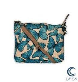 CottnCurls Sling Bag, Blue Butterflies