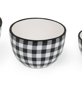 Boston International Bowls, Black & White Check, Set of 3