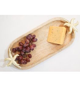 Mary Square Wood Tray w/Gold Starfish Handles