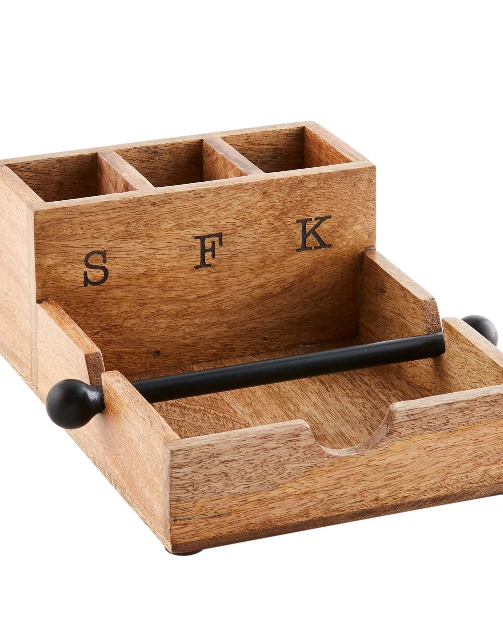 Wood Napkin & Utensil Holder