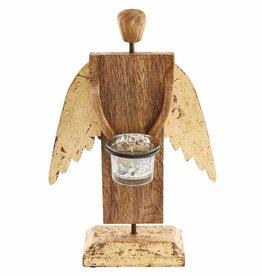Wood Angel VotiveHolder, Gold