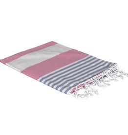 Birchwood Trading Co. Turkish Beach Towel, Pink Blue