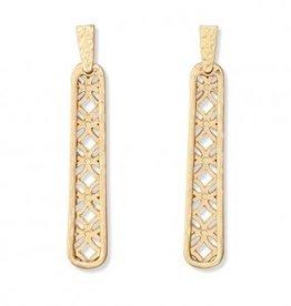 Periwinkle Earrings, Gold Geo Drops