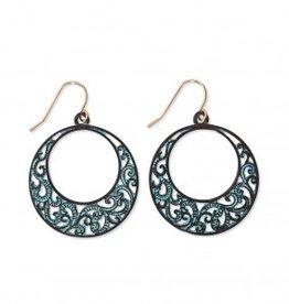 Periwinkle Earrings, Round Filigree Patina