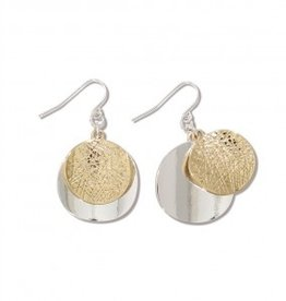 Periwinkle Earrings, TwoTone Texture Circle