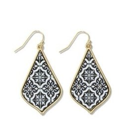 Periwinkle Earrings, Gold Drops Inlay