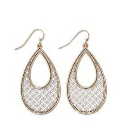 Periwinkle Earrings, TwoTone Teardrop