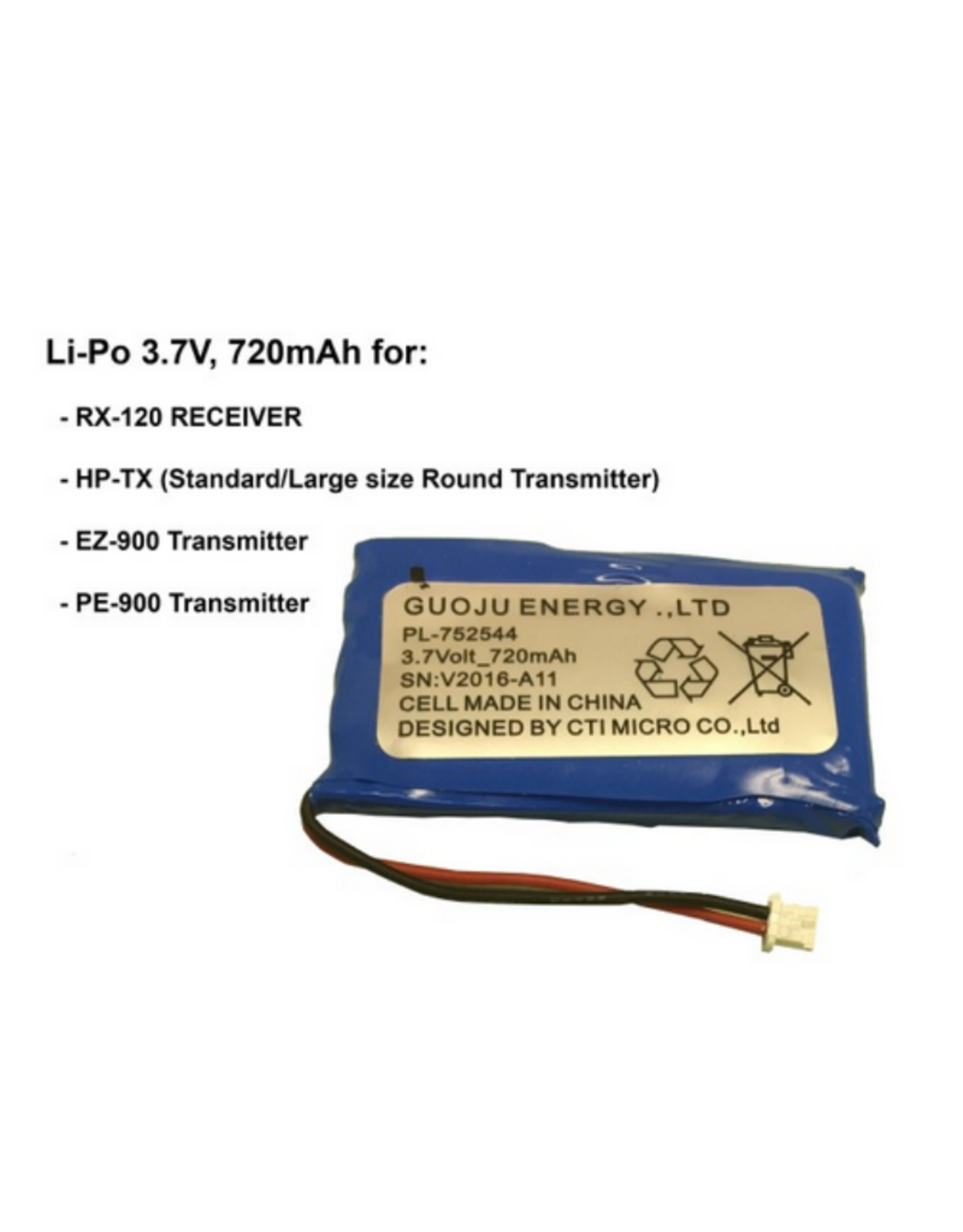E-Collar Technologies Li-Po Battery 3.7V 720 mAH