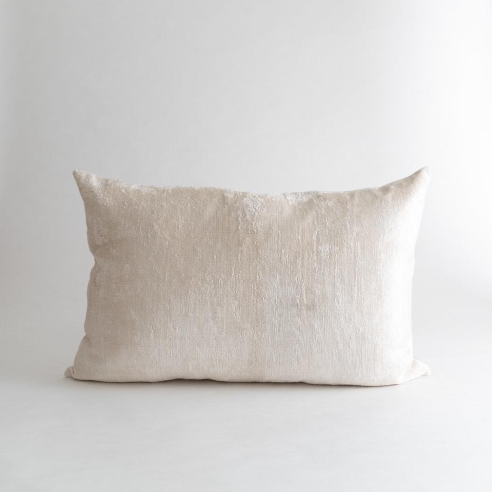 Ivory Pearl Silk + Velvet Lumbar Pillow Cover