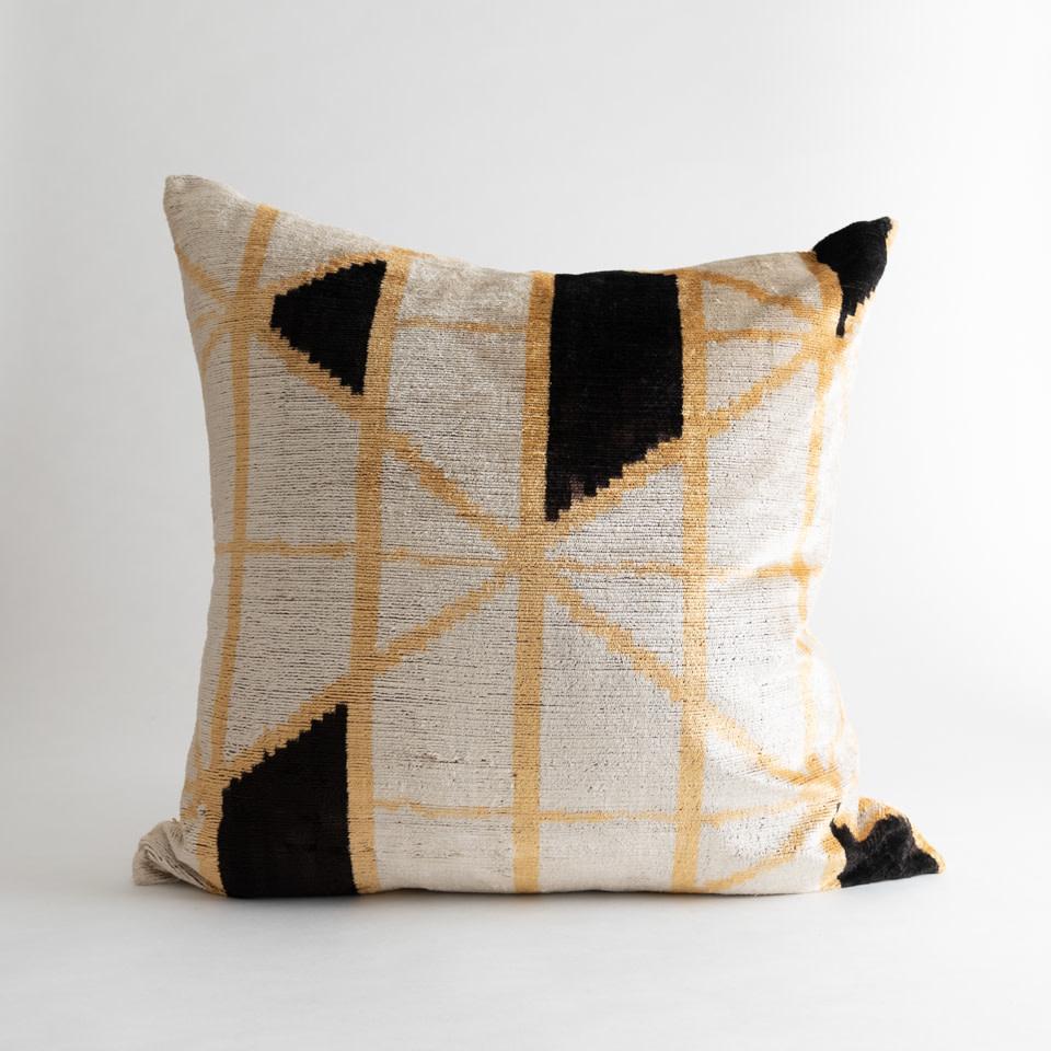 """Gold Deco Ikat 24"""" Pillow"""