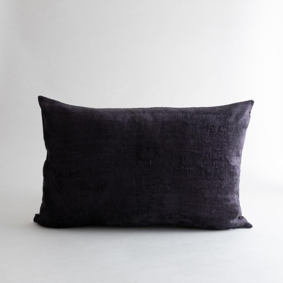 Charcoal Ikat Silk/Velvet Lumbar Pillow Cover