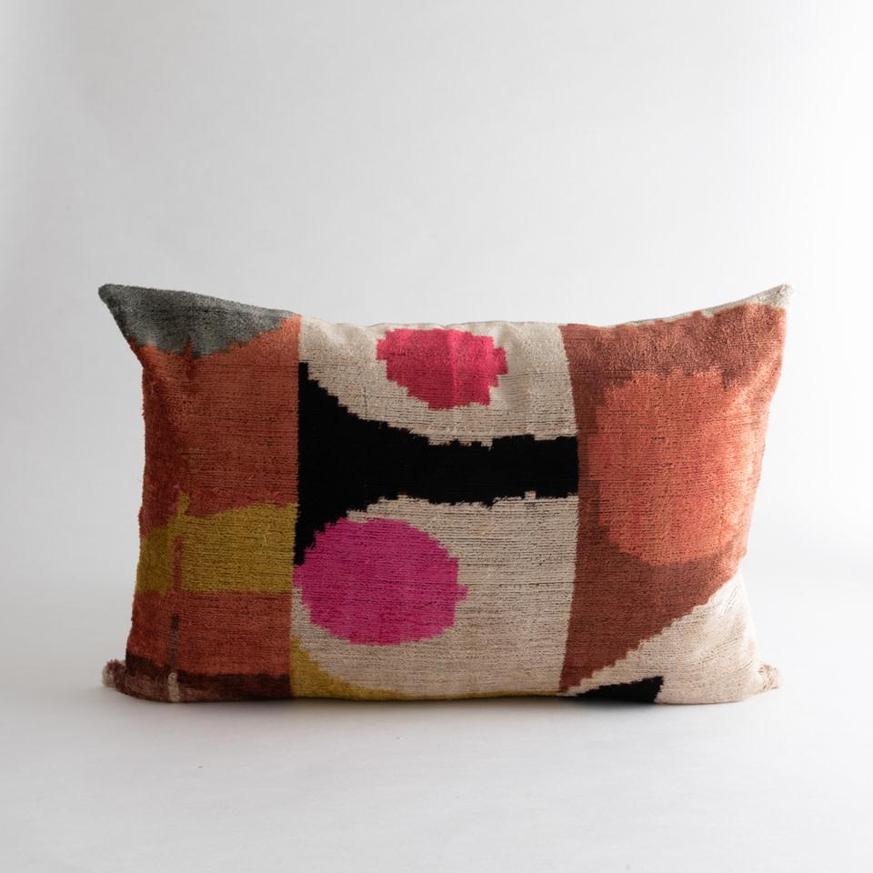 Mod Pink No.2 Silk + Velvet Lumbar Pillow Cover