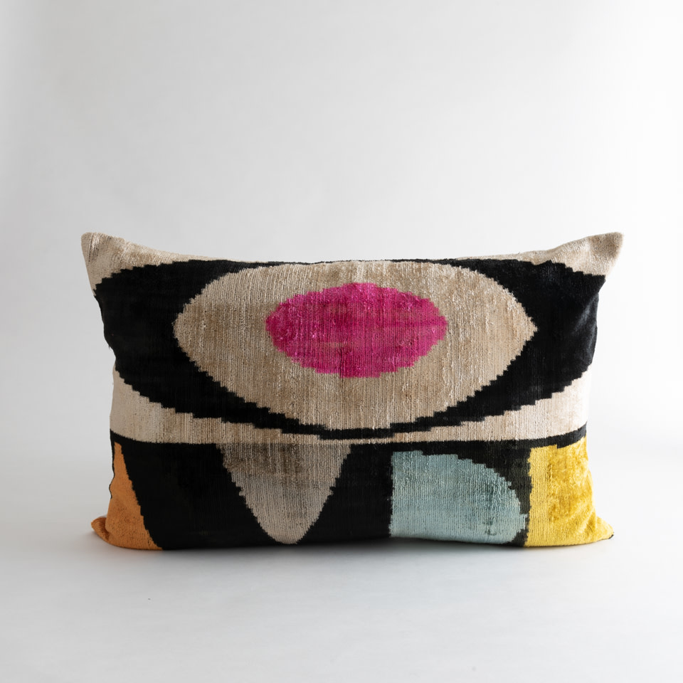 Mod Pink Silk + Velvet Lumbar Pillow Cover