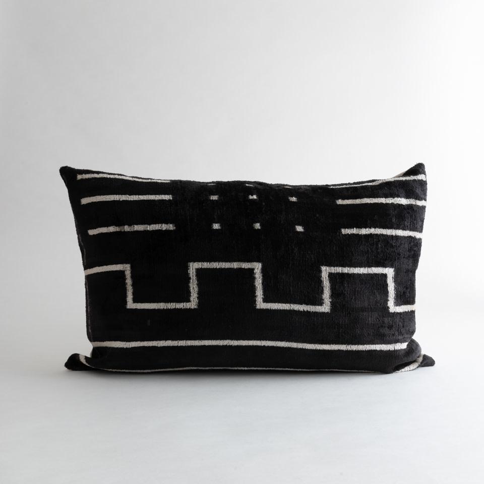 Mudcloth Silk + Velvet Lumbar Pillow Cover