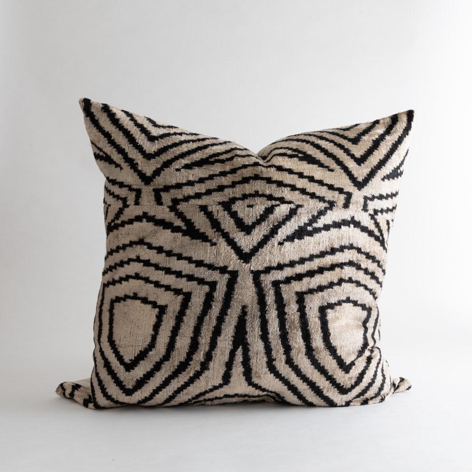 """Vista White Ikat Silk/Velvet 24"""" Pillow"""