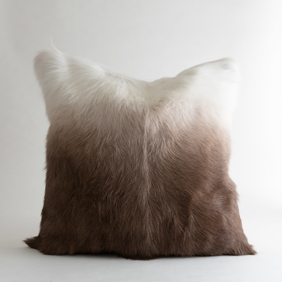 Billy Ombre White & Brown Pillow