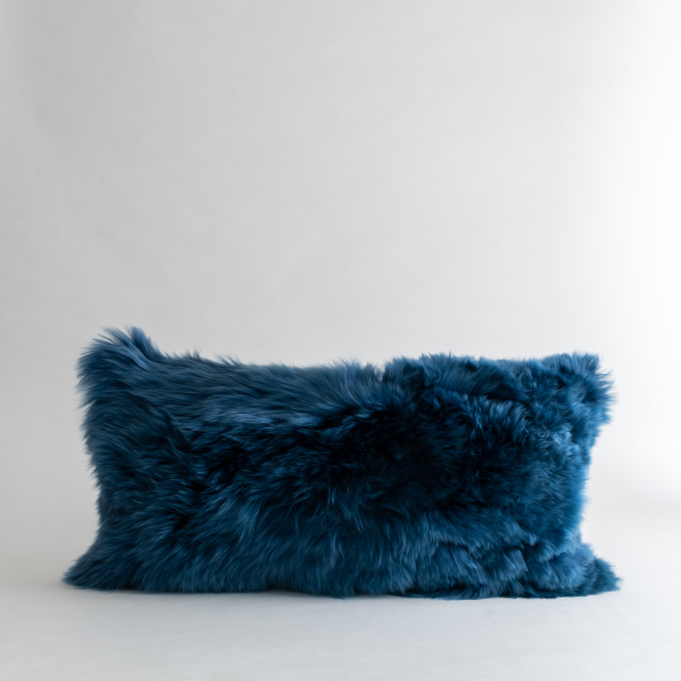 Alpaca Daphne Blue Lumbar Pillow