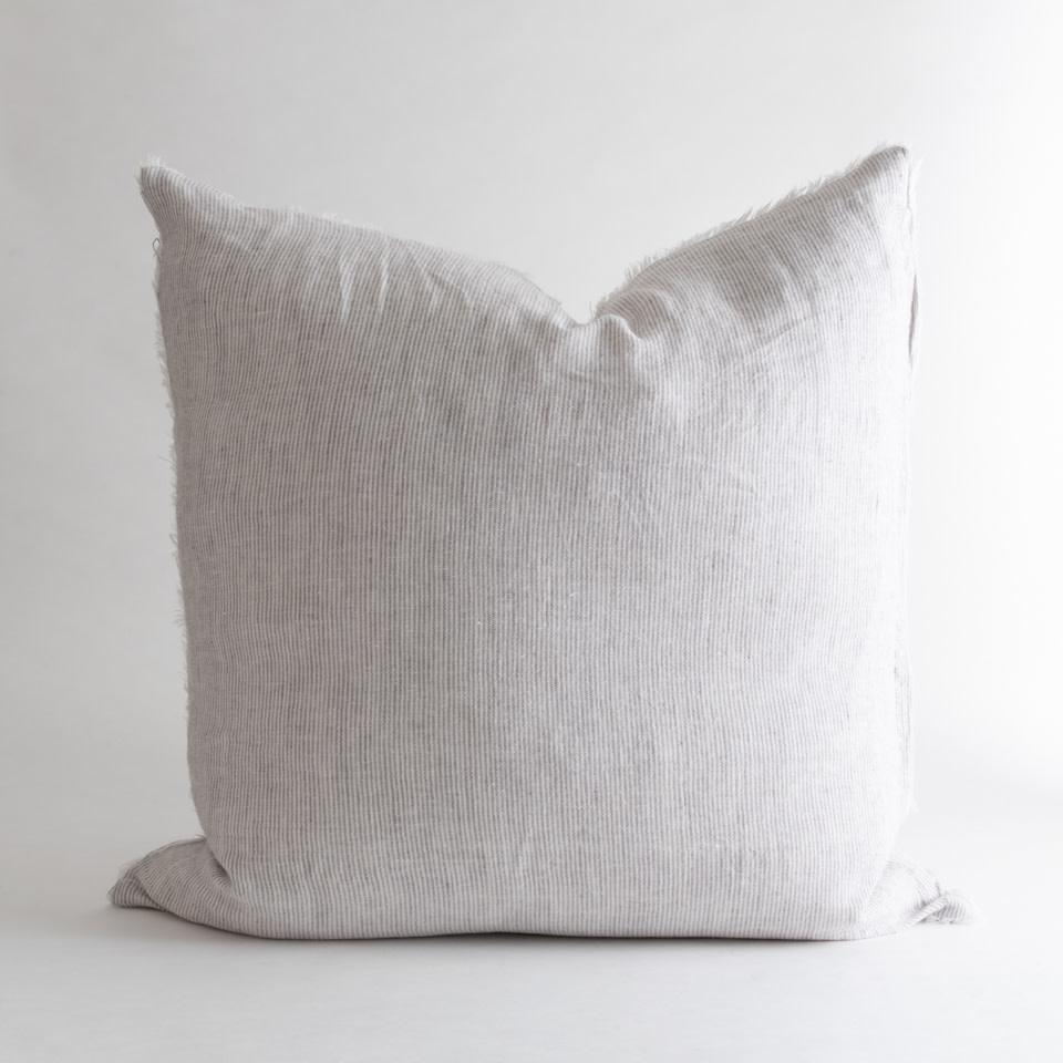 "Lina Linen 24"" Grey Stripe Pillow"