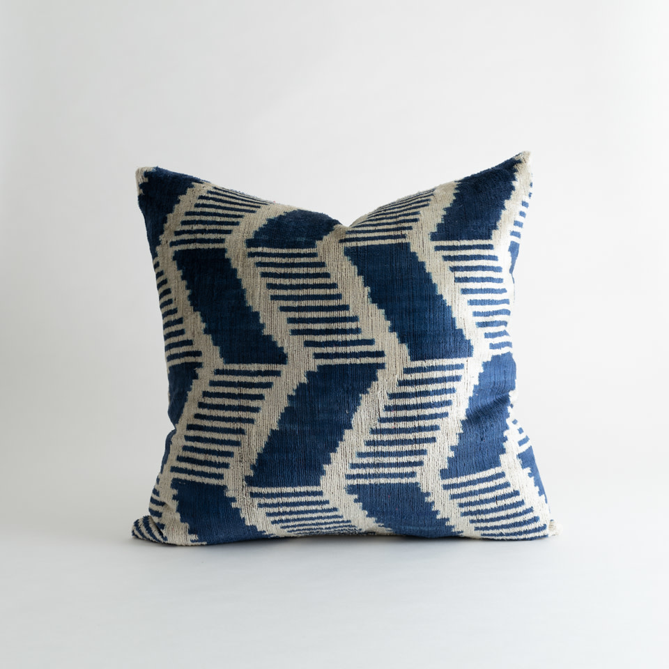 "Blue Zodiac Ikat Velvet/Silk 20"" Pillow"